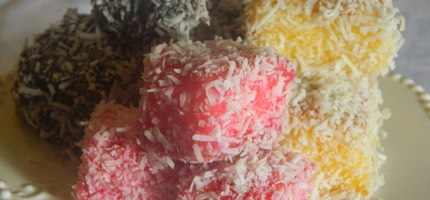 Baby Lamingtons: Traditional Chocolate; Mango & White Chocolate; Traditional Raspberry